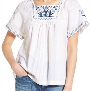 Madewell Embroidered Short Sleeve Peasant Top